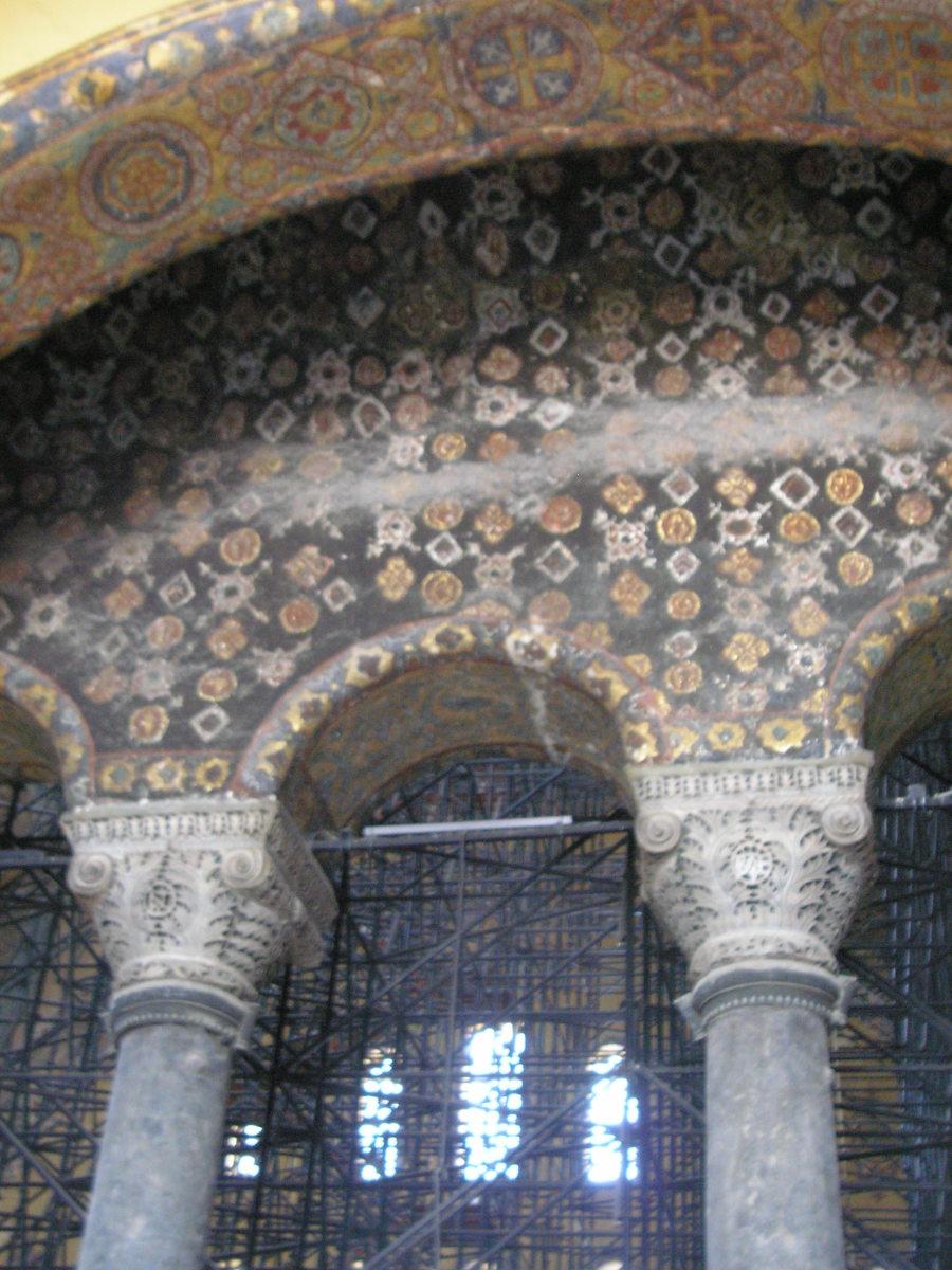 Decorative mosaics in the upper gallery, Hagia Sophia.