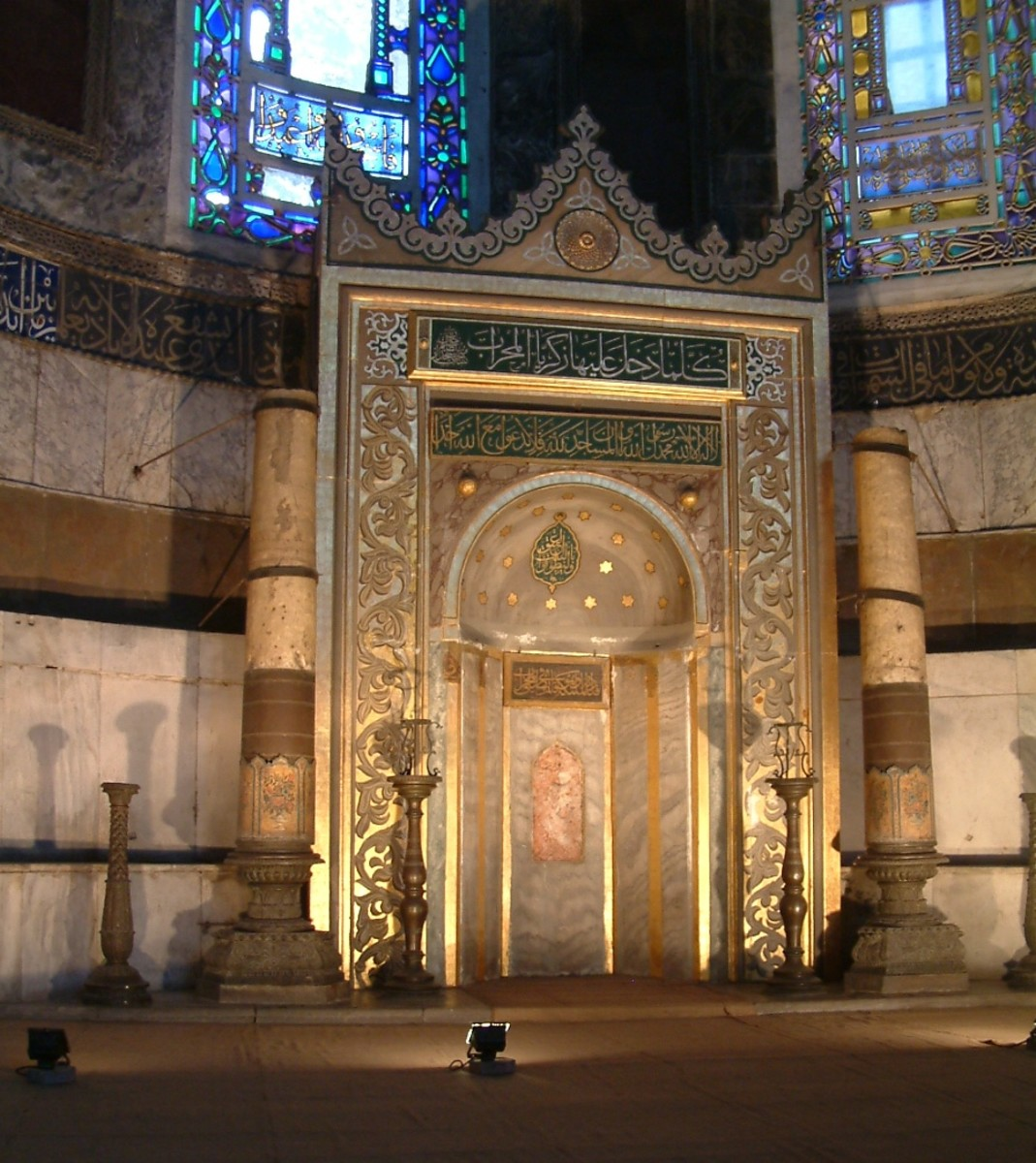 The mihrab (indicating the direction of Mecca) of the Hagia Sofia when it was an Islamic mosque.