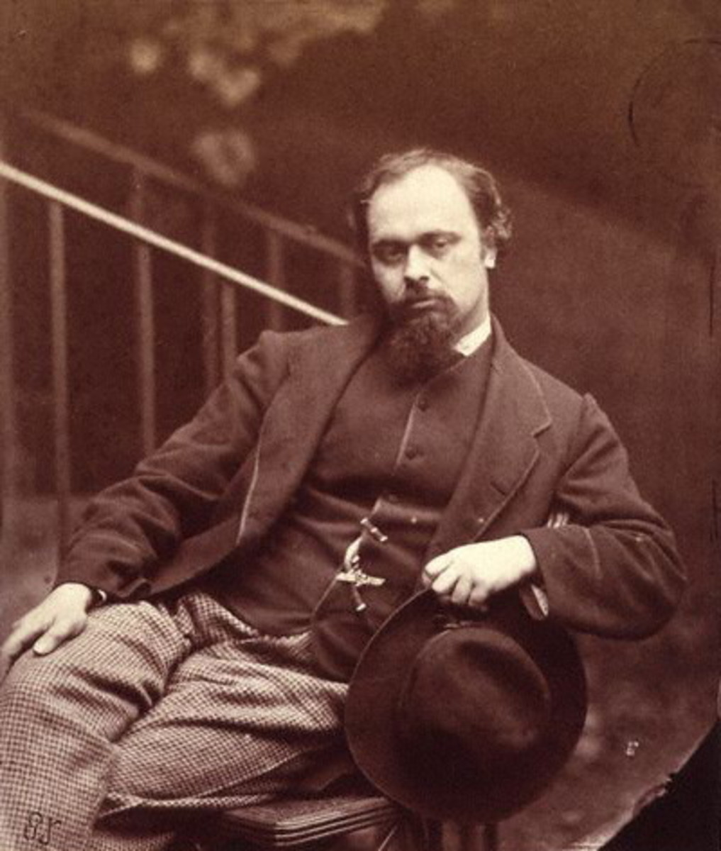 Photo of Dante Gabriel Rossetti by Lewis Carroll in 1863.