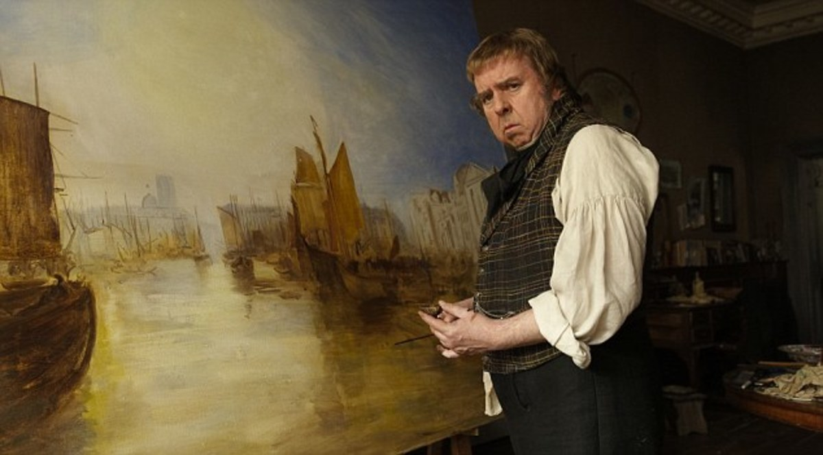 A fine character actor, Timothy Spall as 'Mr Turner' puts some finishing touches to a panorama of the River Thames.