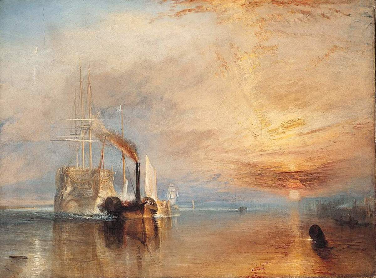 The Fighting Temeraire, one of Nelson's ships of the line at Trafalgar, being towed by a steam tug for scrap
