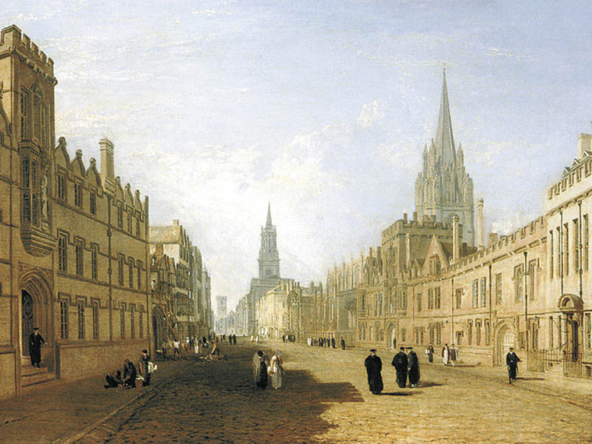 Oxford, The High - an architectural study by the young Turner early in his career. Linear purity was his aim then.on behalf of clients - although you can see the impressionism creep in through his representation of the building styles.