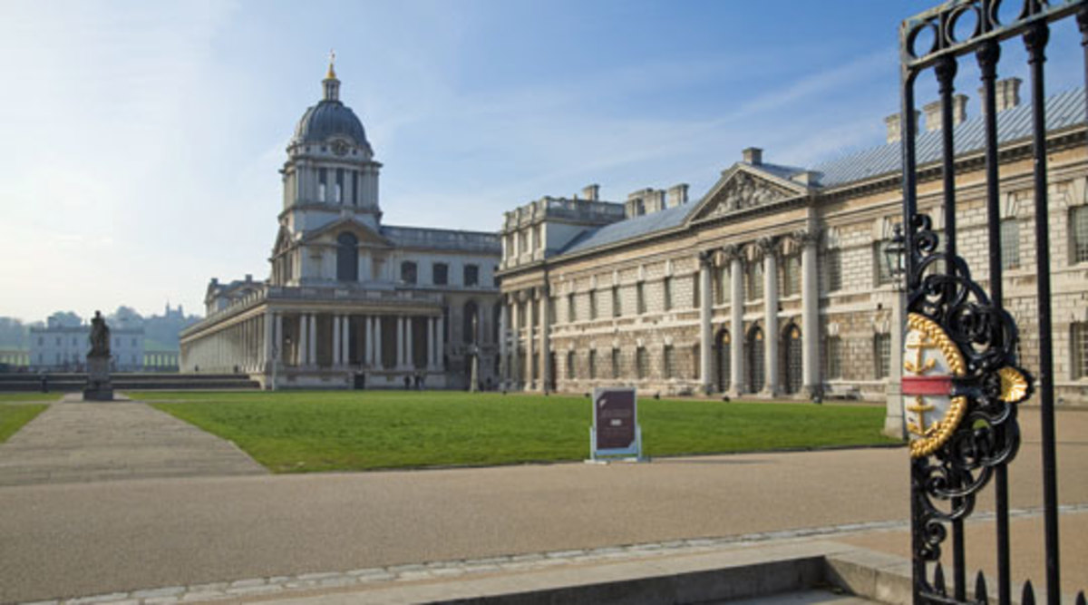 The National Maritime Museum seen from the gates as approached from the DLR and Cutty Sark