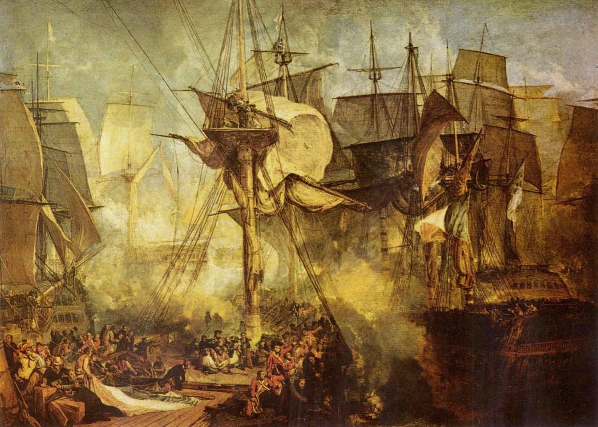 Turner painting of the Battle of Trafalgar (21.10.1805)