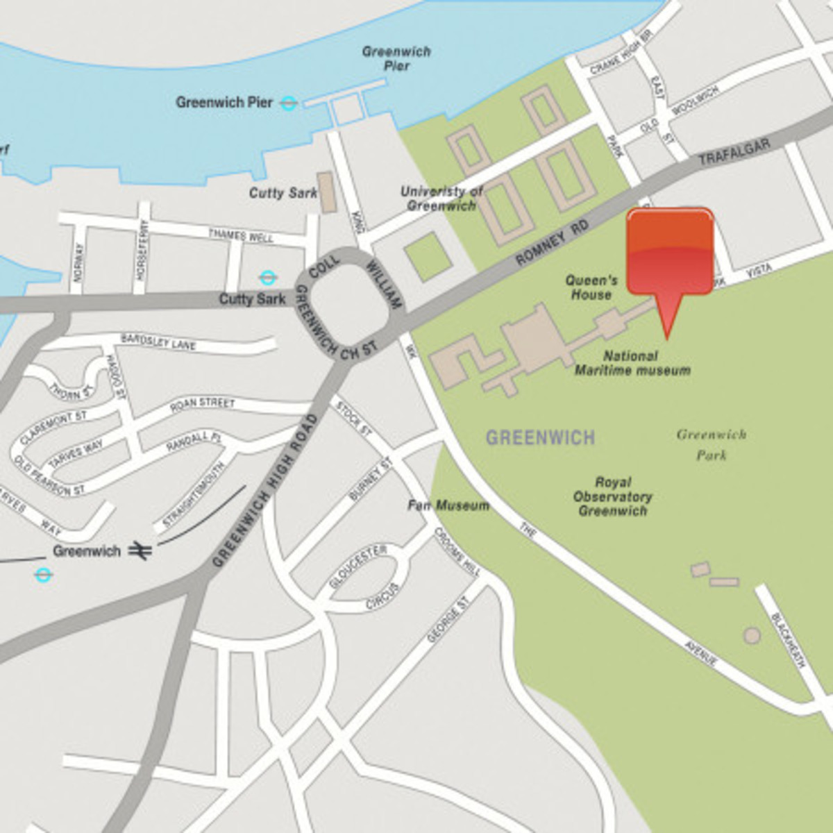 The location of the NMM in Greenwich, not far from the Thames and the preserved 'Cutty Sark'