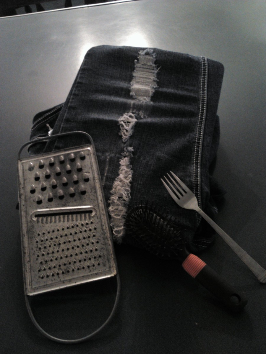Using a cheese grater on your jeans can give a gentle shred that will create a designer distressed look!
