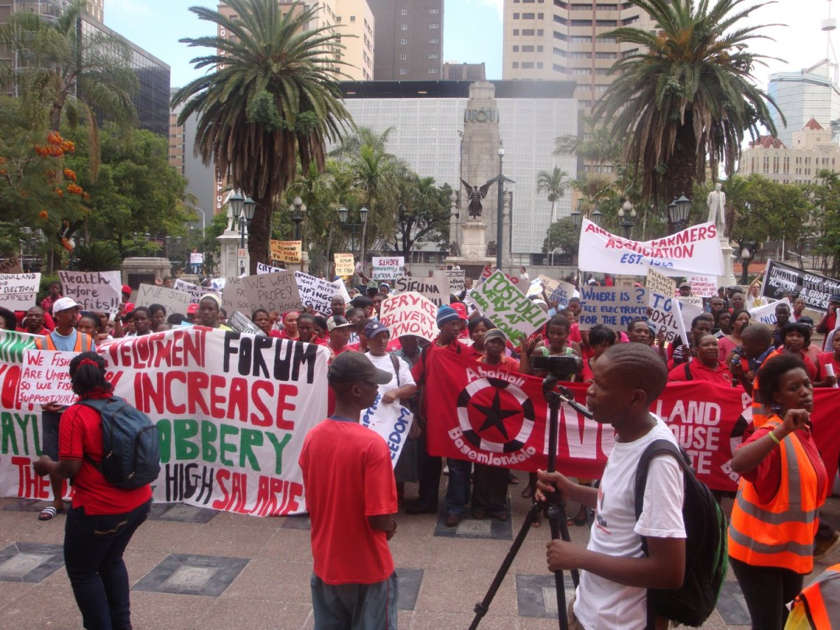 "Abhlali baseMjondolo(AbM) during ""Unfreedom Day March, Durban, 27th April 2012"