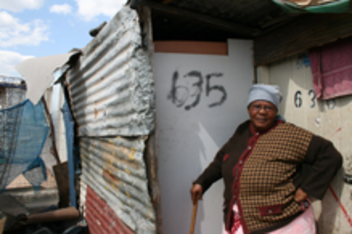 Makgosimang Matsuwoni lives in a tiny makeshift shack while another person occupies her RDP house