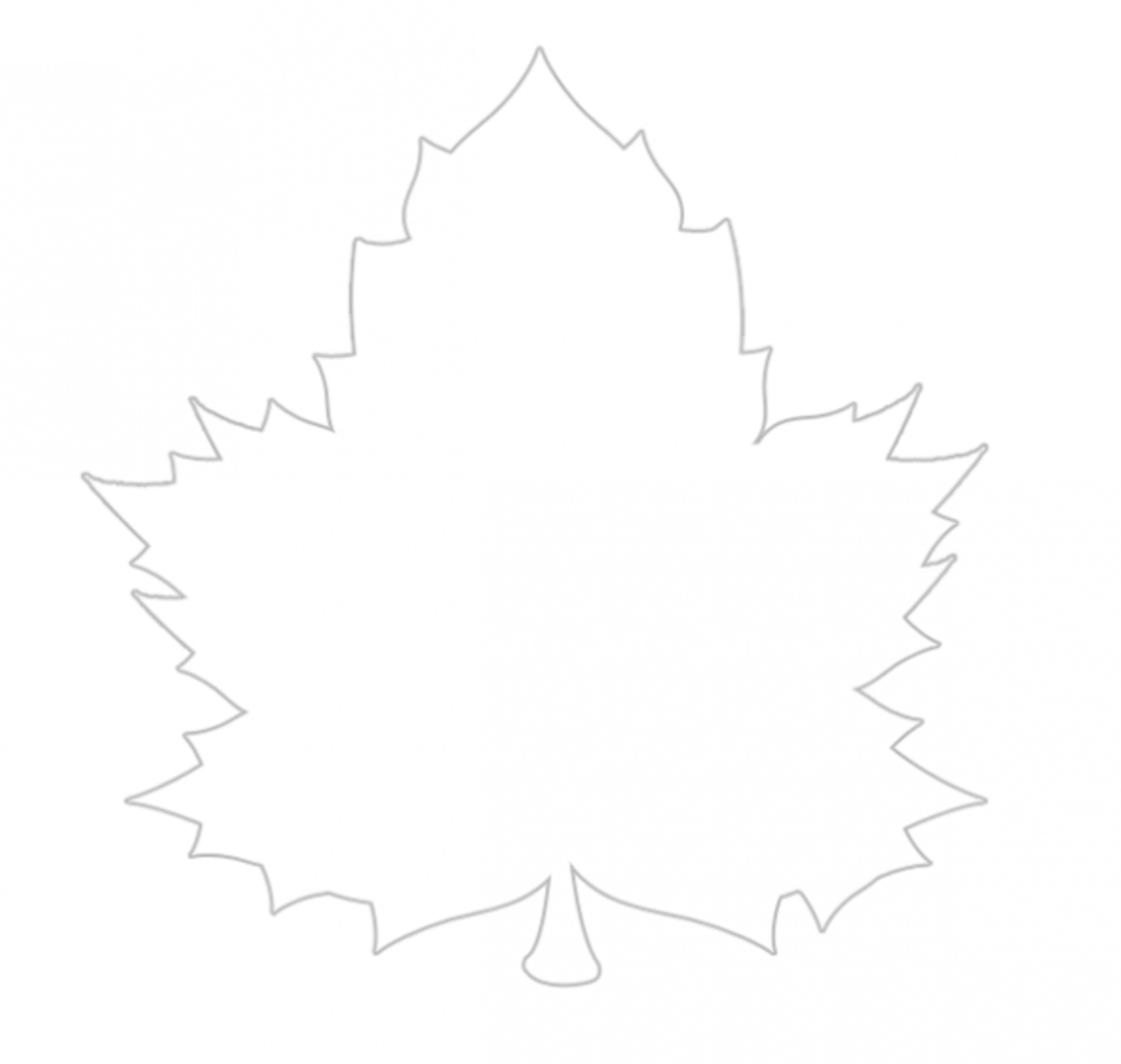 Fall maple leaf printable stencil and coloring sheet.
