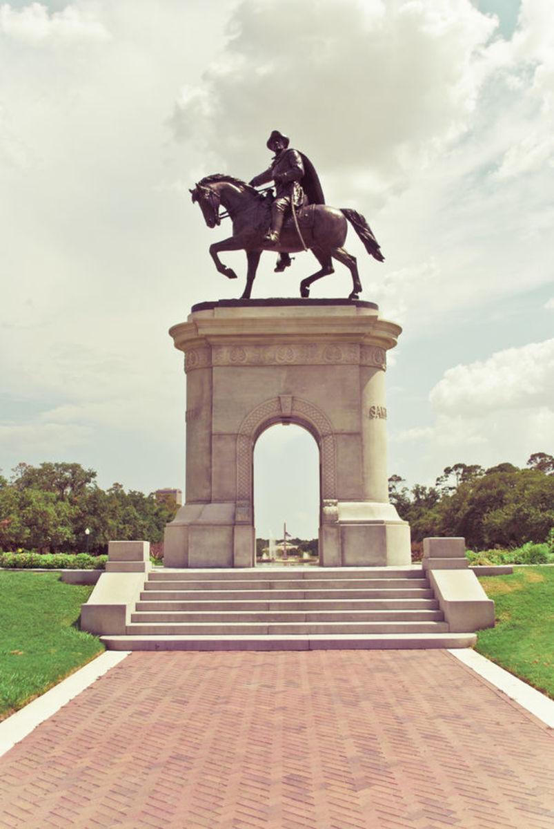 A statue of Sam Houston in Memorial Hermann park, Houston TX