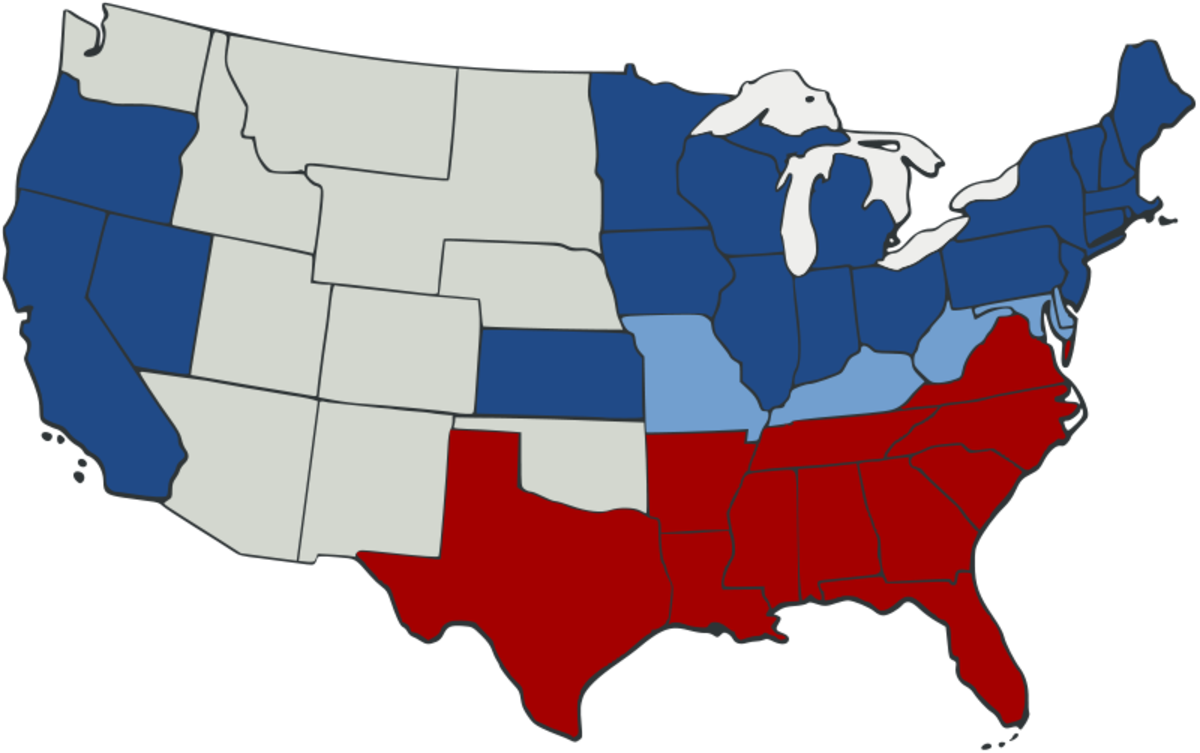 Confederate states in red; Union states (blue) and territories in grey.