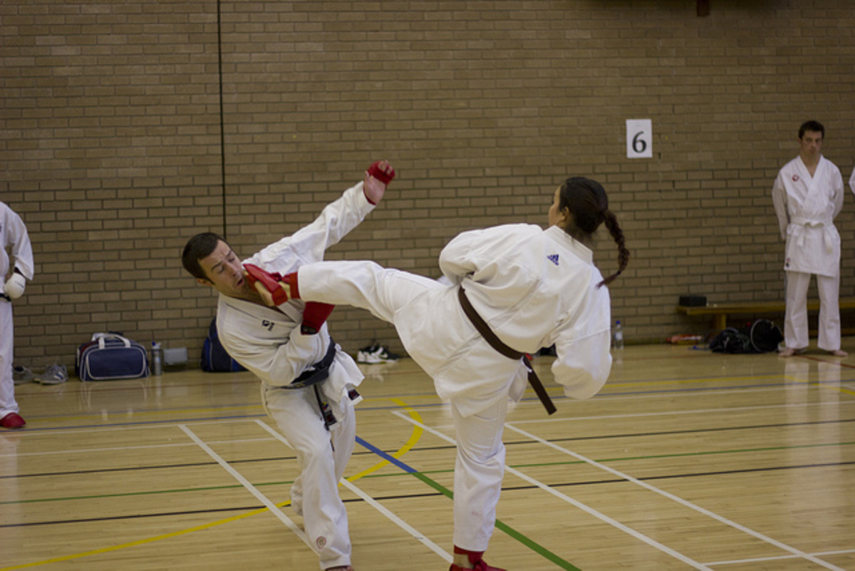 Sparring at the Swansea University Karate Club