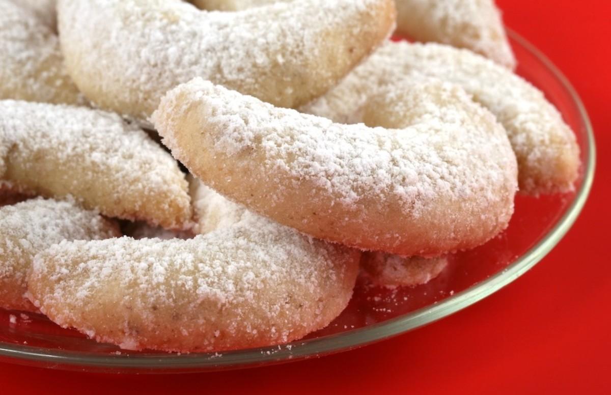 Crescent shaped Greek Wedding Cookies