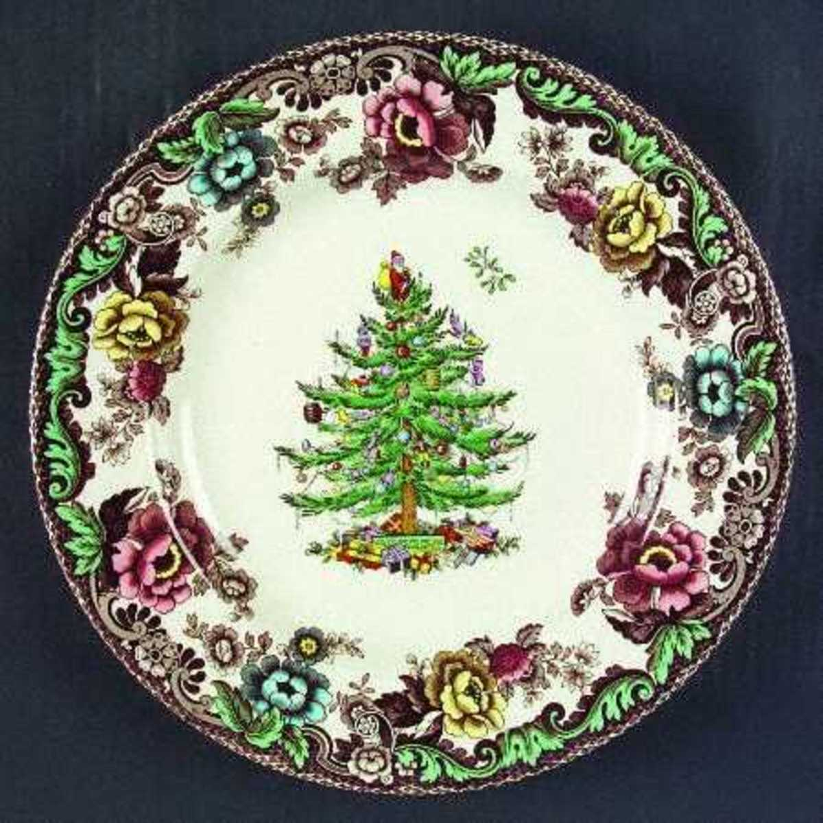 Rose and Tree Christmas Plate
