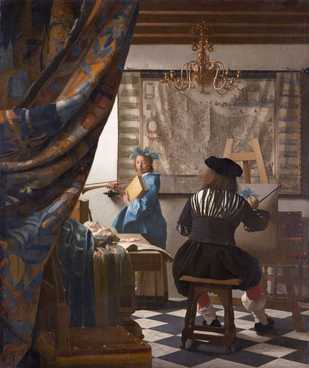 Some critics think this could be Vermeer, back against us, refusing to reveal his looks.