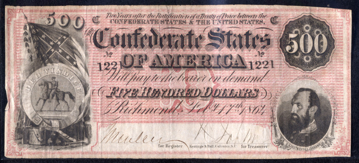 Stonewall Jackson on a Confederate $500 bill (1864)