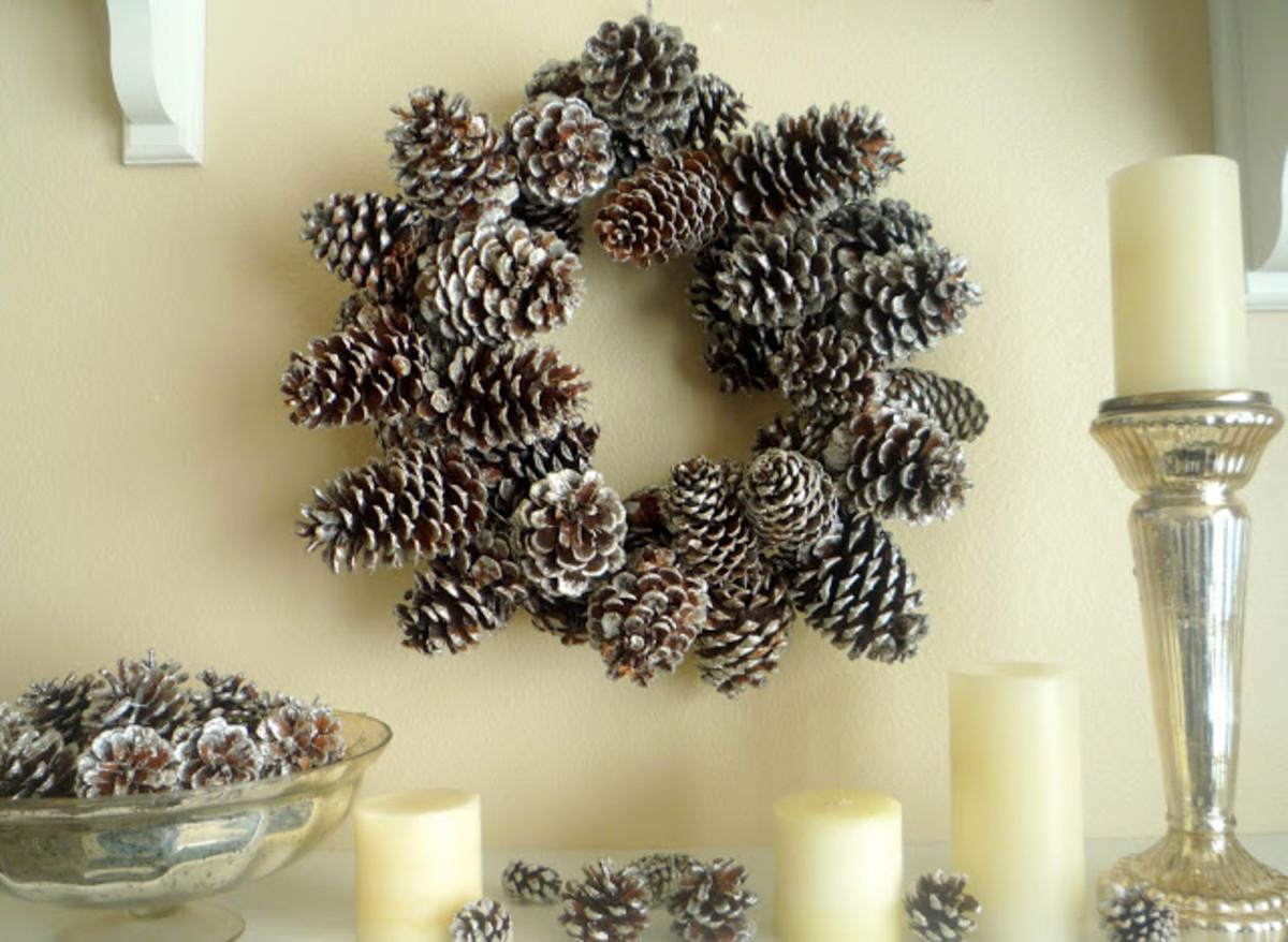 fabulous glittered pine cone wreath