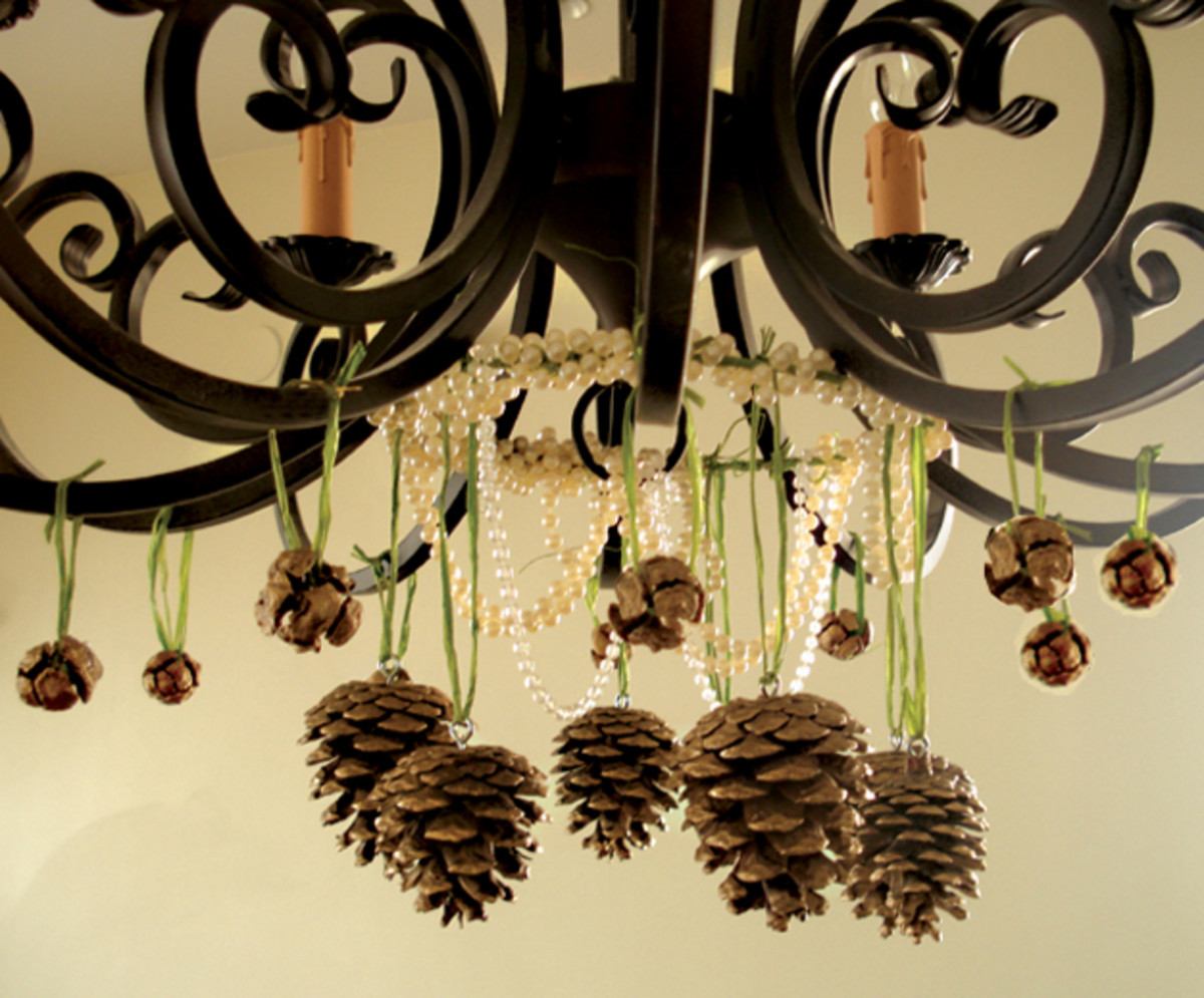 beautiful pine cone embellished chandelier