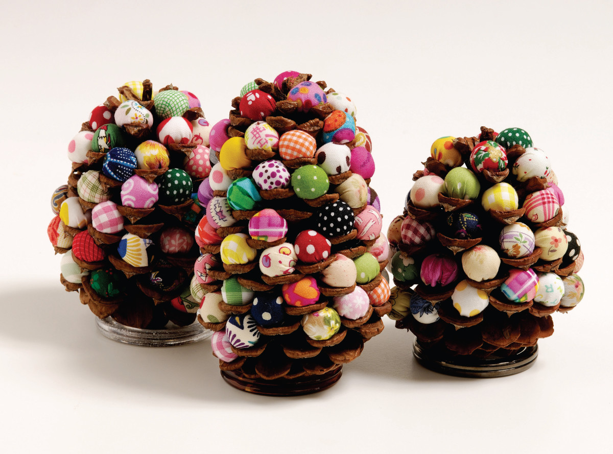 bright and pretty ball stuffed pine cone decorations