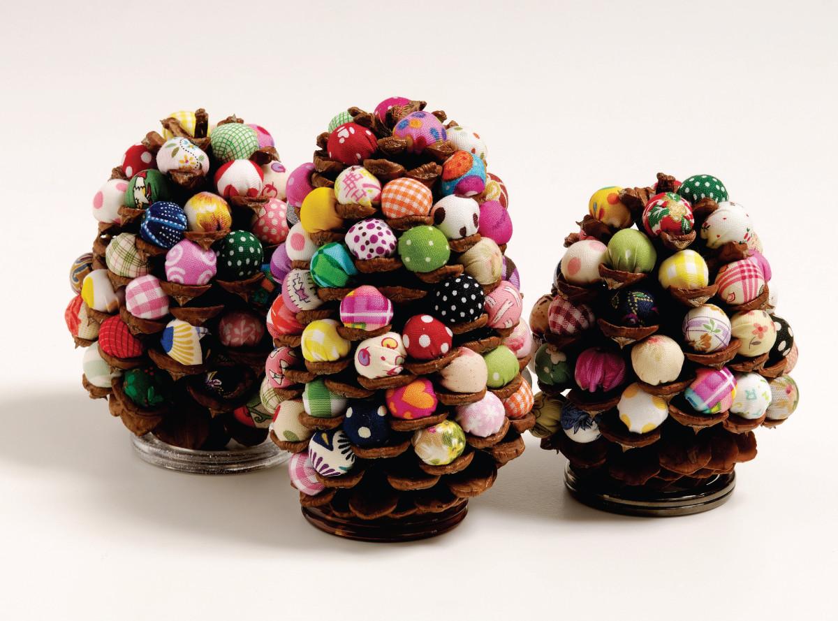 bright and pretty ball stuffed pine cone decorations
