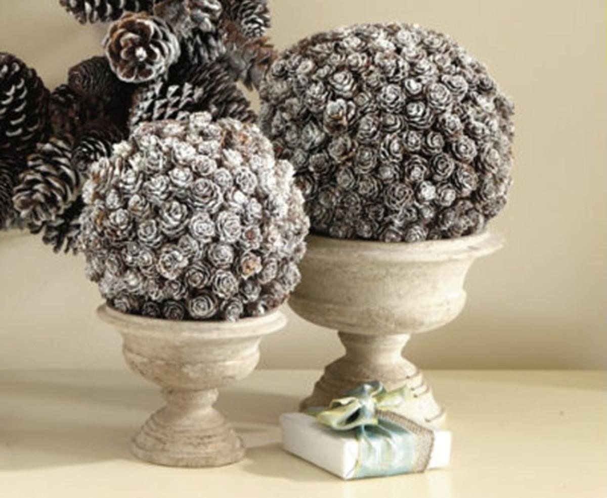 stunning pine cone topiaries