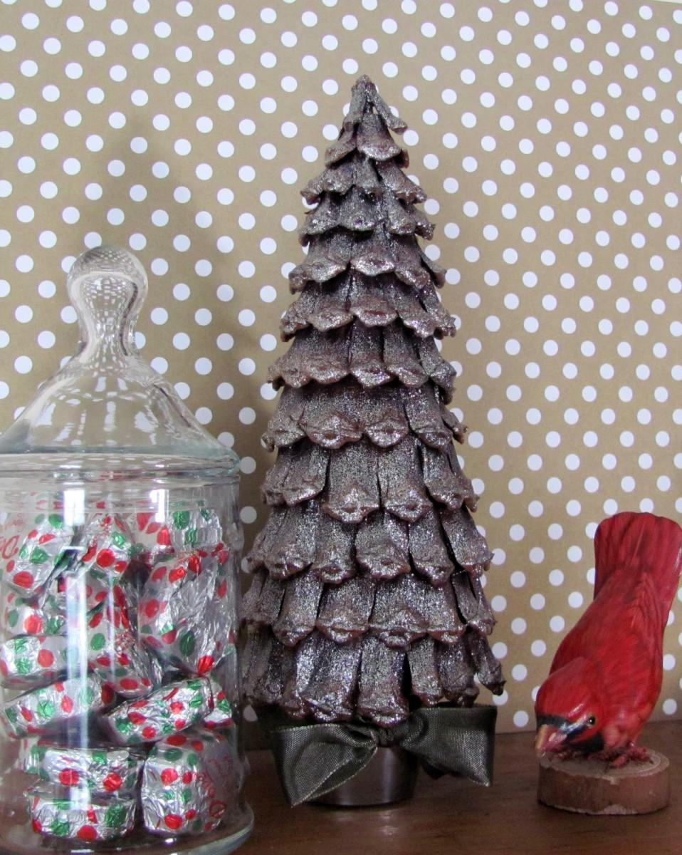 pretty glittery pine cone tree