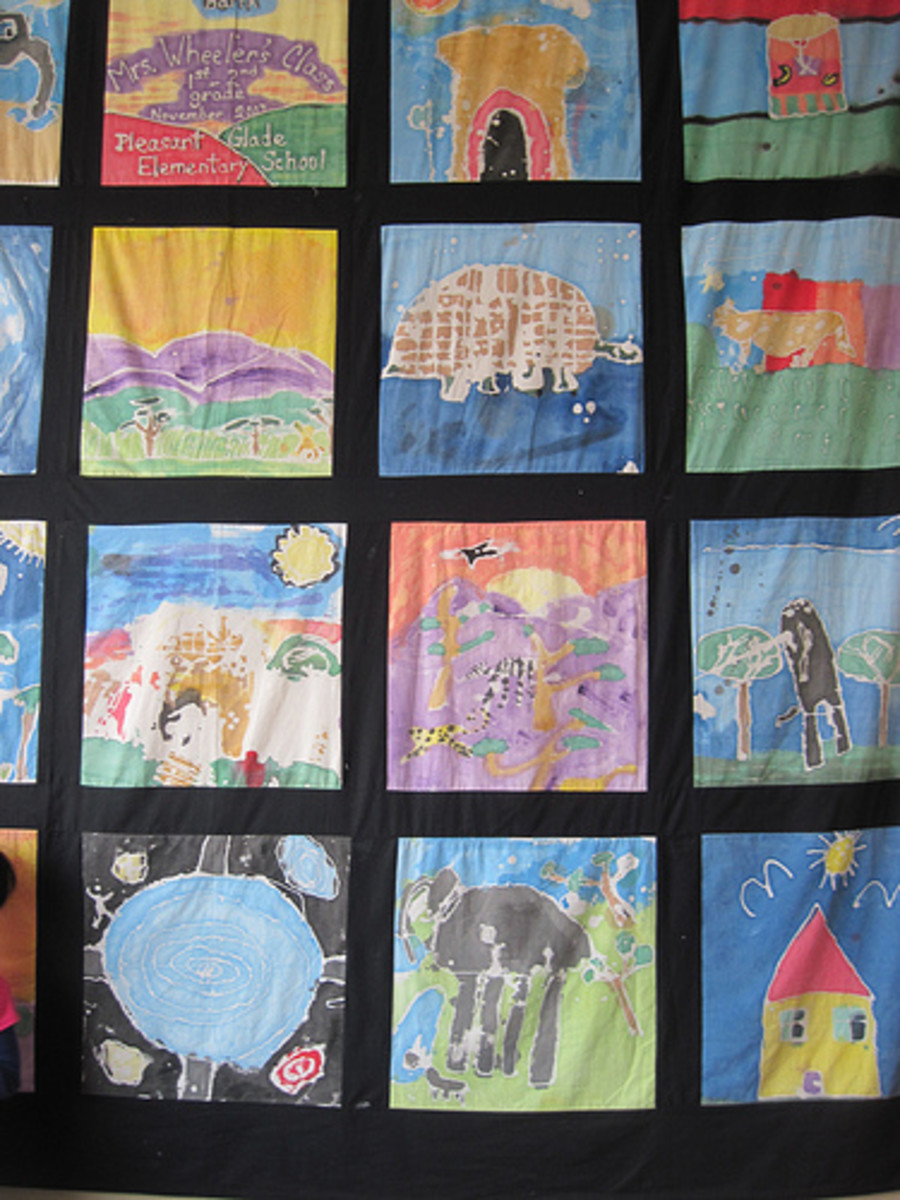 This quilt made with batik and fabric paint was created by 1st and 2nd grade schoolchildren.