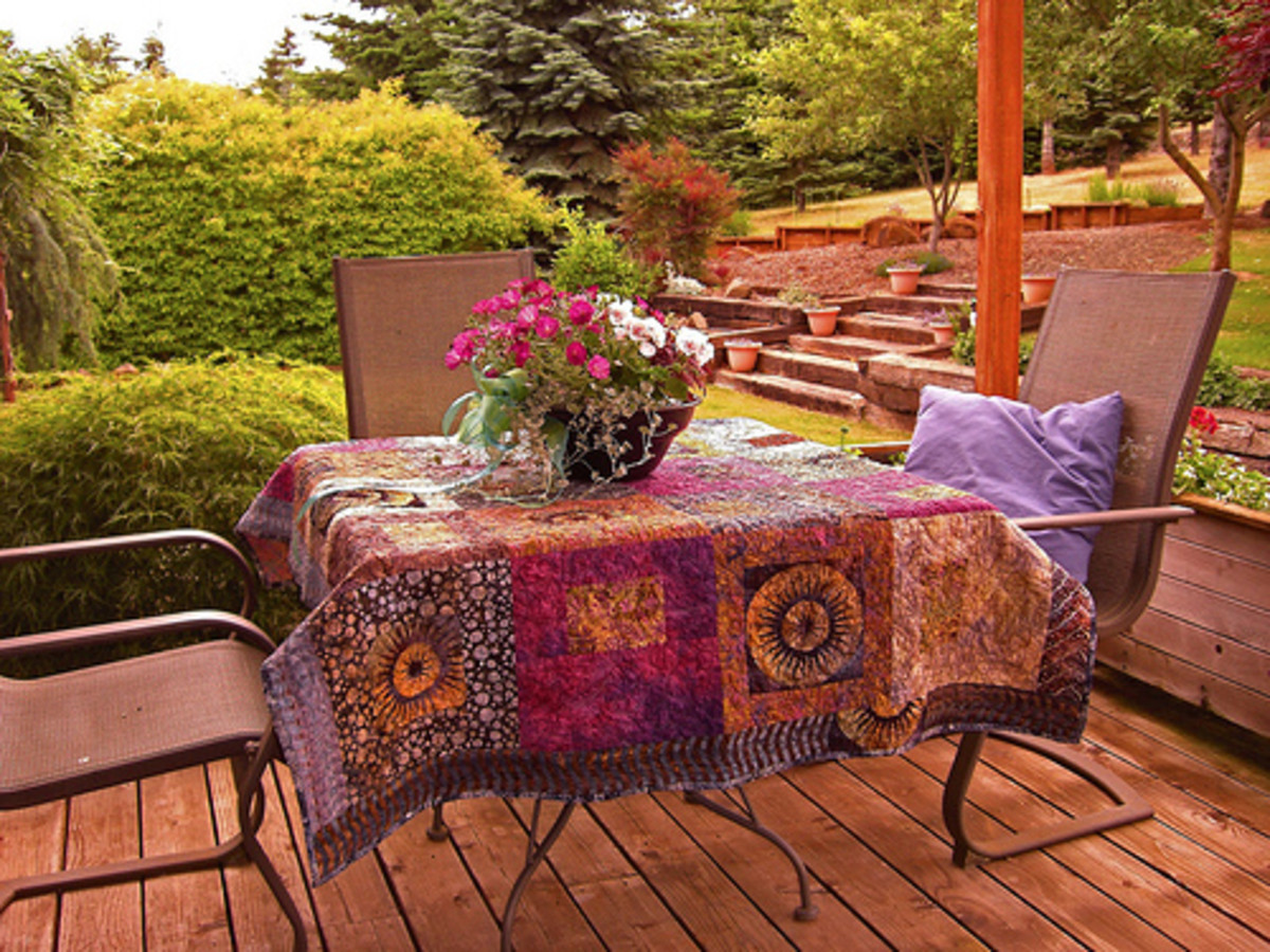 Batik quilt used as a table cover.