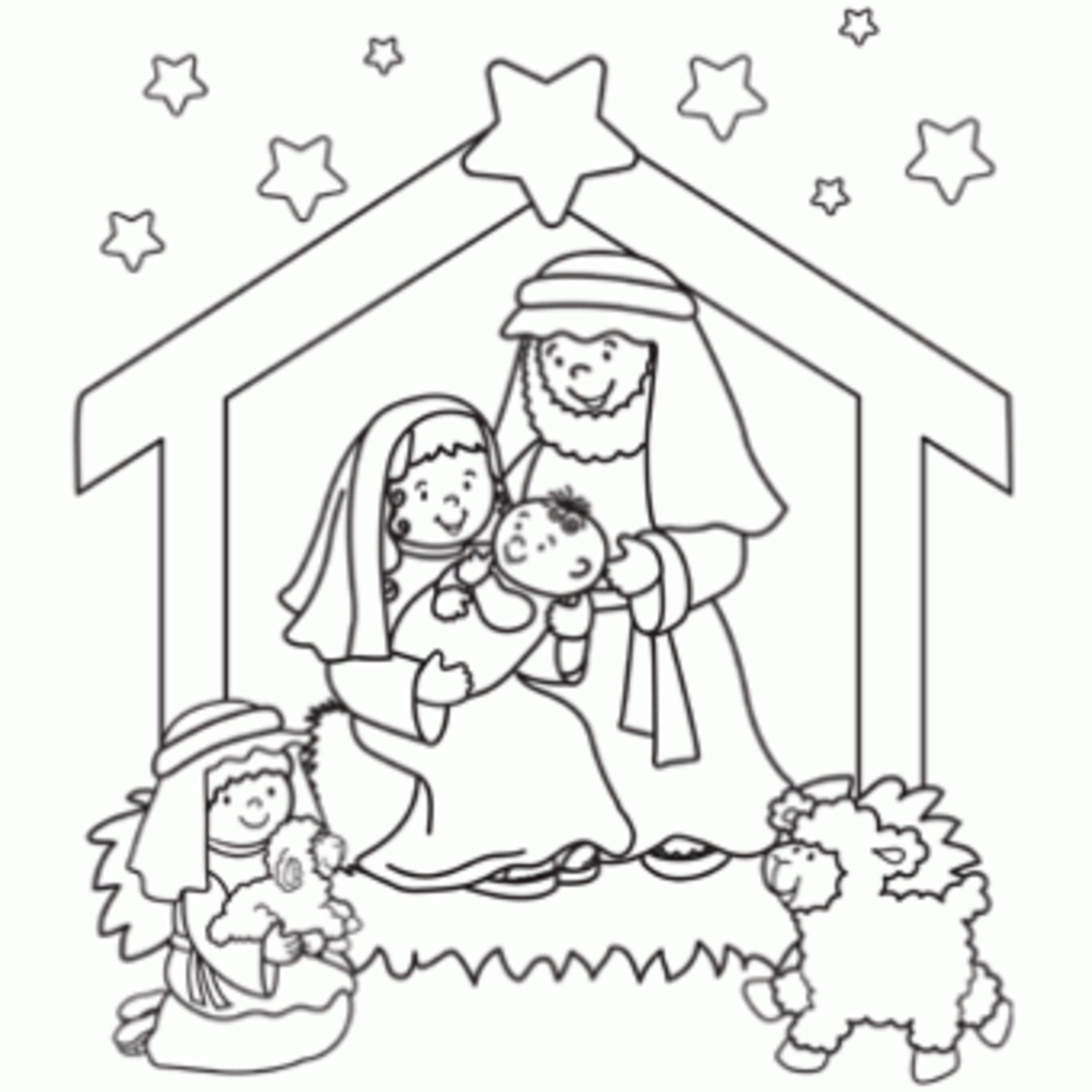 Online christmas nativity printables for Christmas coloring pages preschool
