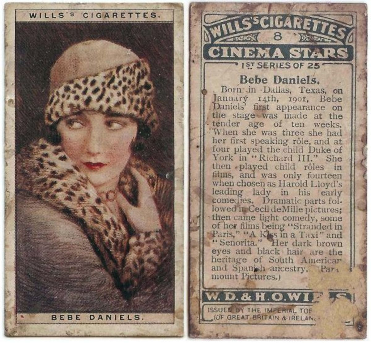 Wills Cinema Starts Bebe Daniels