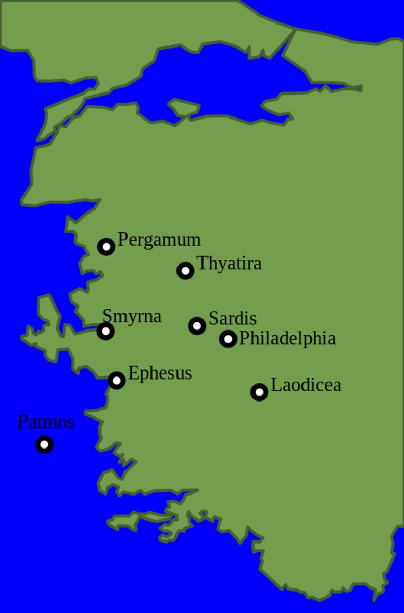 Map of the seven Churches from Revelation.