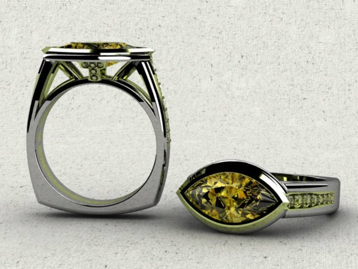 A CAD rendering of a Yellow Diamond Wedding RIng: No Band Required