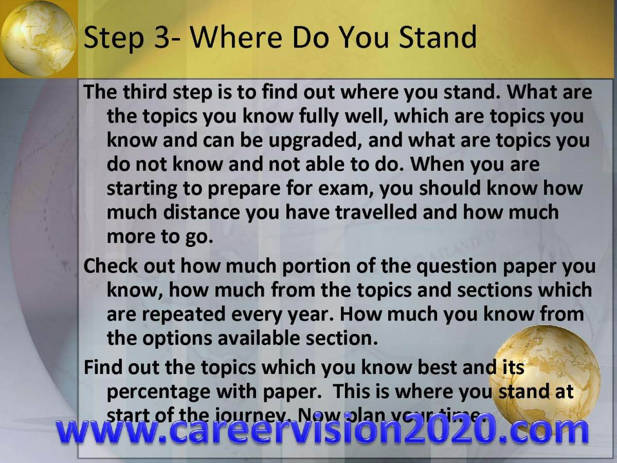 Step 3- Where Do Stand