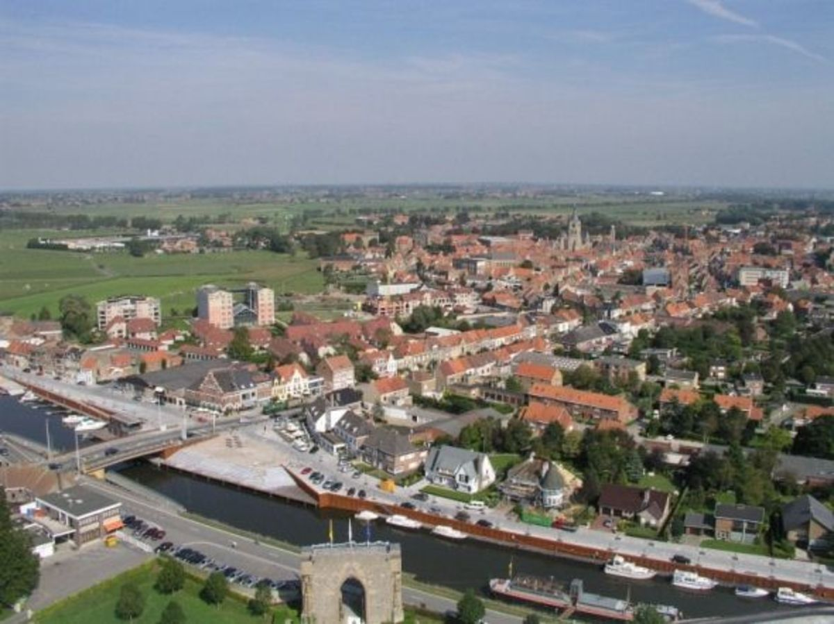 Photo of Diksmuide Taken from the Yser Tower. On the foreground: the Yser Canal running through Diksmuide