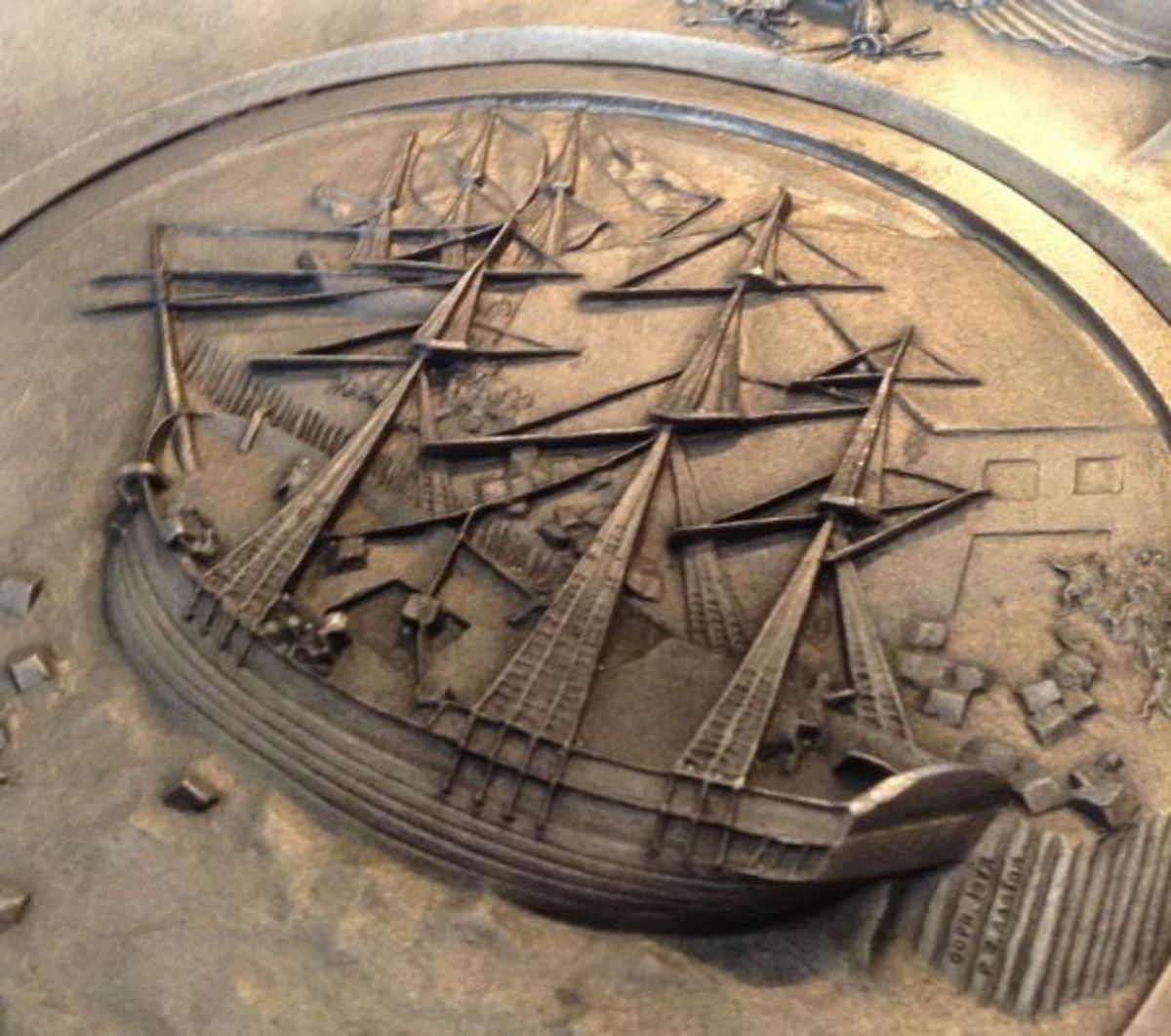 Close up of Boston Tea Party plate