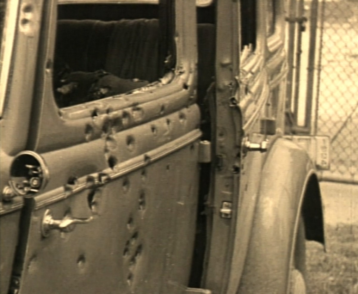 Door damage to Clyde Barrow's car at ambush