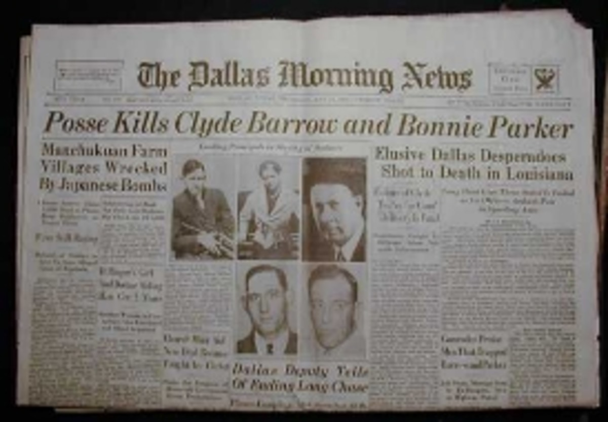 Dallas Morning News Headlines for the deaths of Clyde and Bonnie