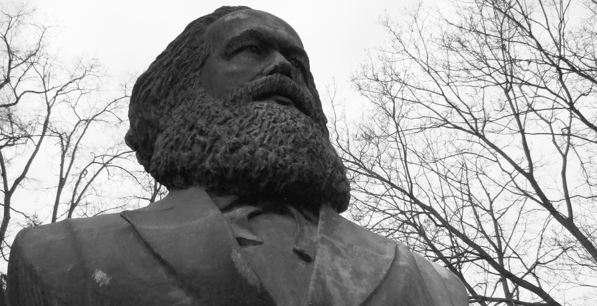 A statue of Karl Marx, the author of The Communist Manifesto.