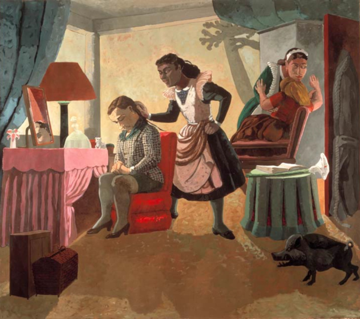 Notice the bright pink dressing table in this painting by Paula Rego.