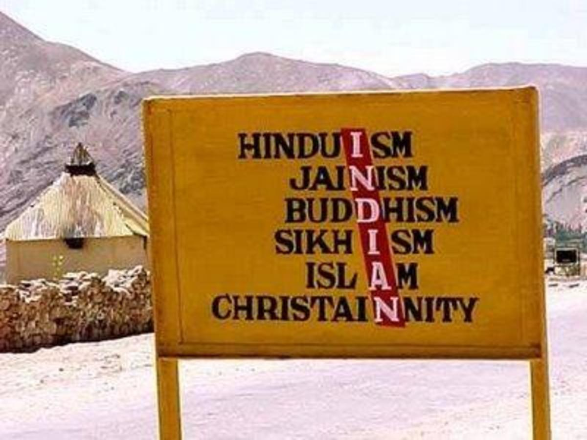 The picture (containing names of 6 religions)  clearly shows the religious diversity and unity of India
