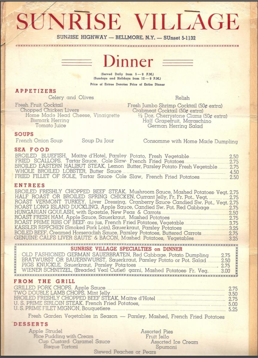 Dinner menu from 1954