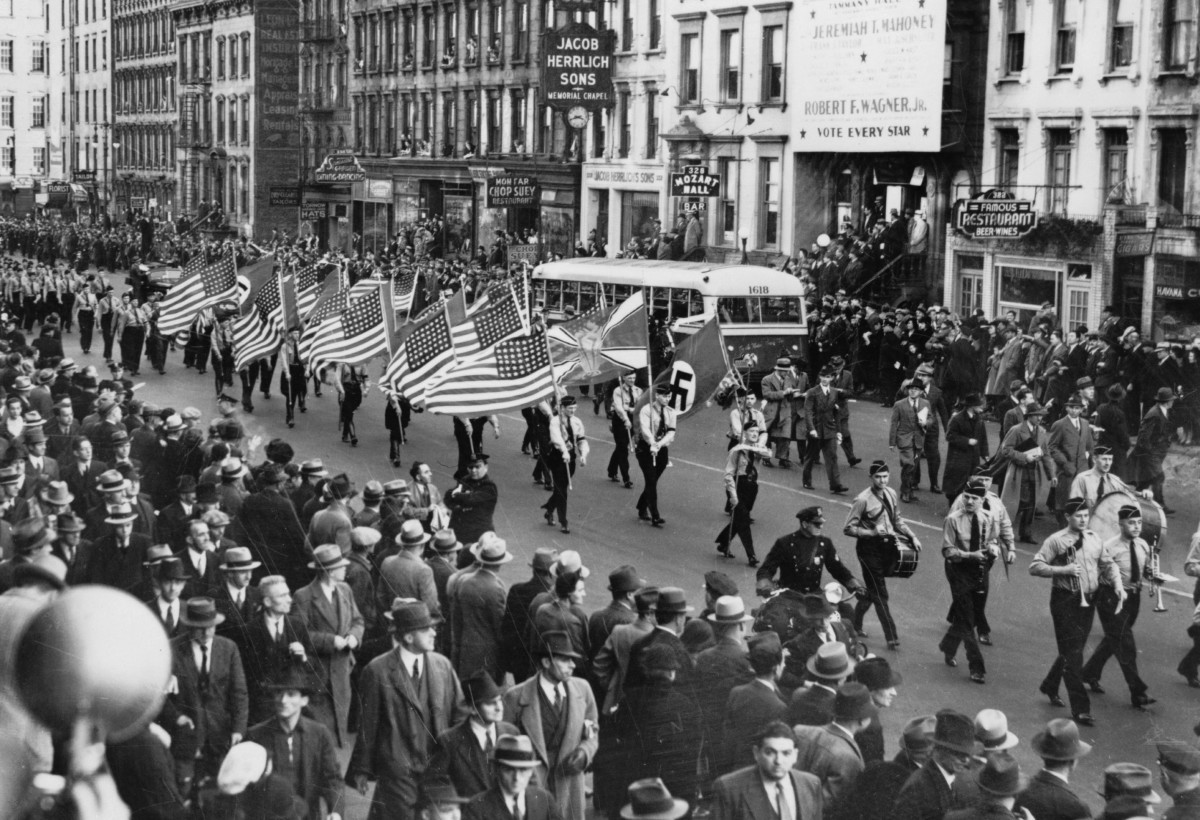 Bund parade in New York City on East 86th St. Oct. 30, 1939