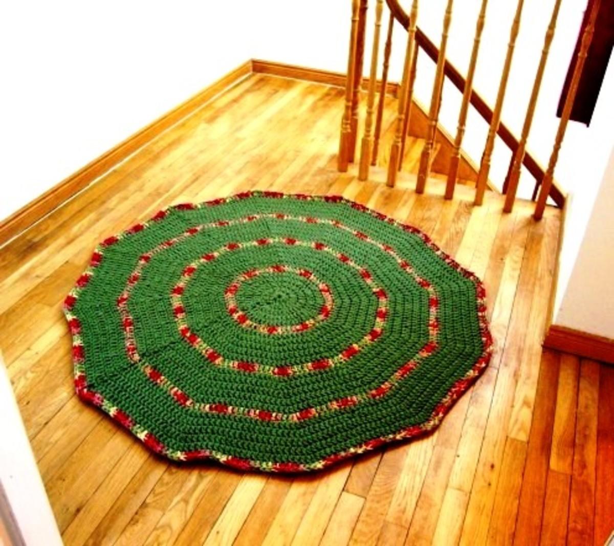 Crochet Rug on Landing