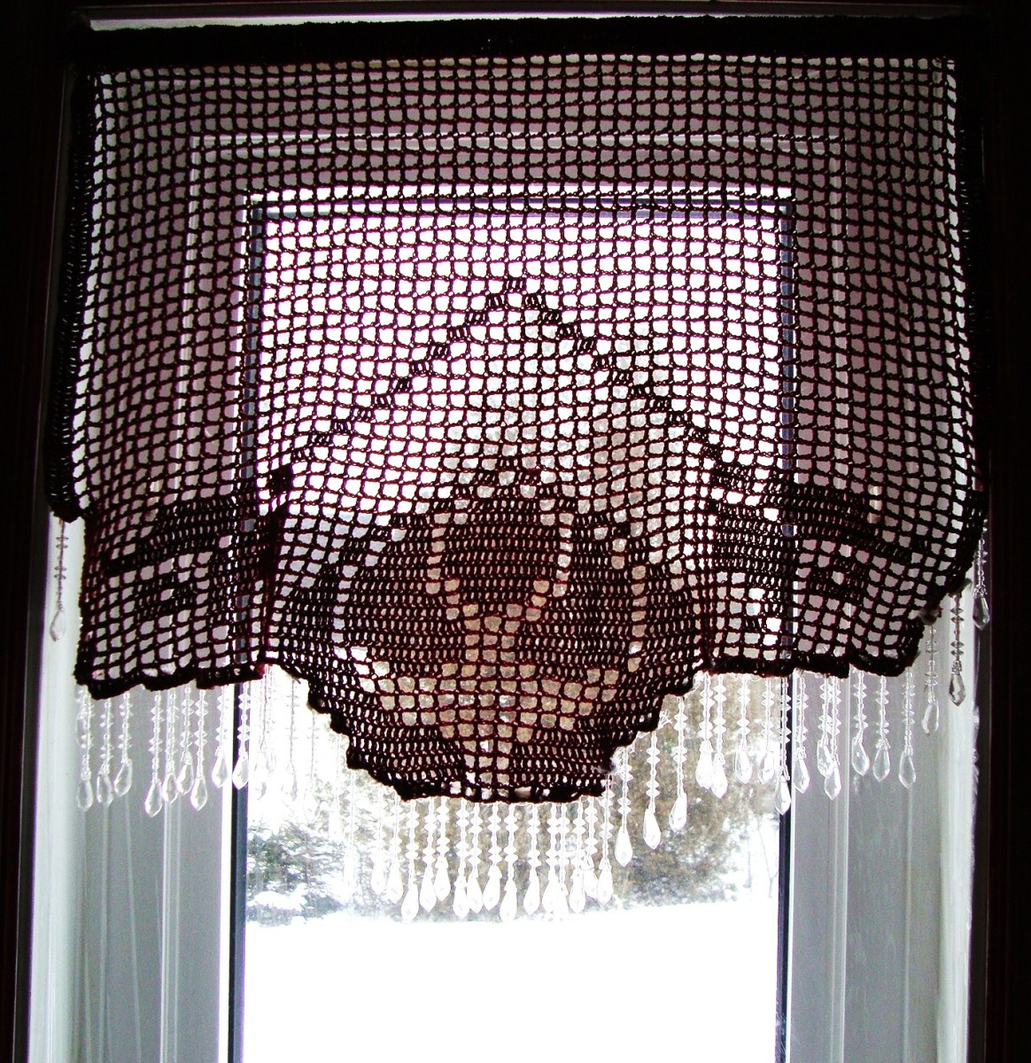 Crocheted Valance With Crystals