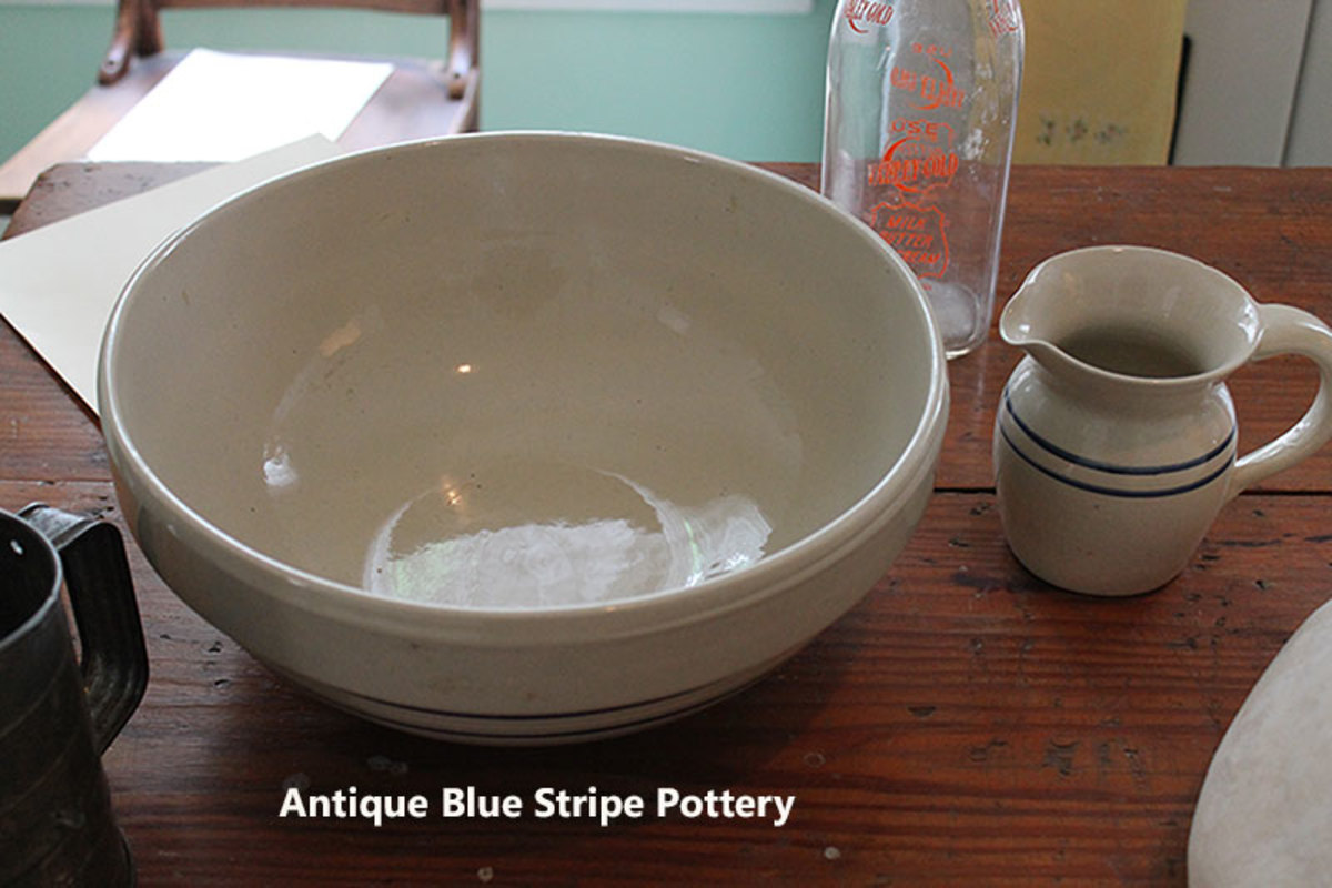 Blue stripe stoneware, reproduction stoneware is available.