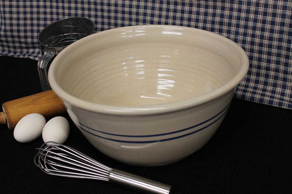 Reproduction blue stripe stoneware.