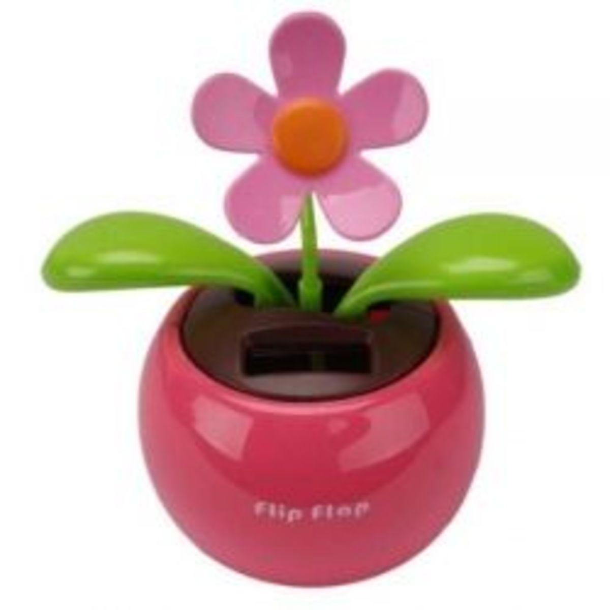 Car Rose-red Cute Flip Flap Swing Solar Flower