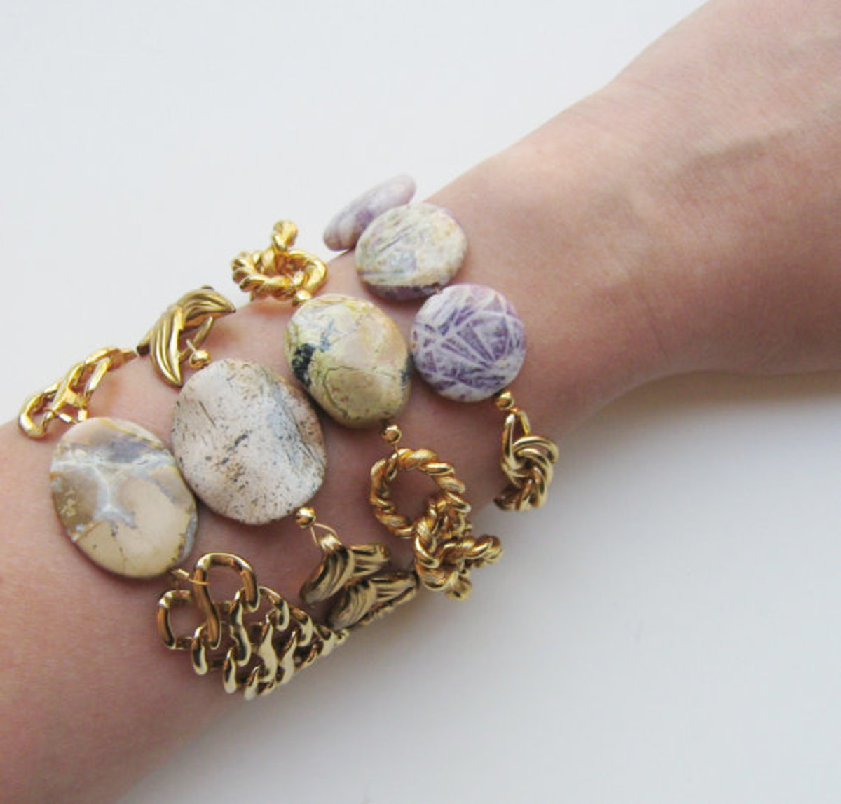 Natural Stone Double Linked Vintage Chain Bracelet