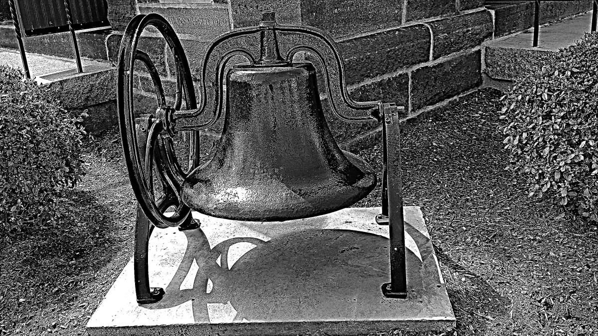 Bell at the front of Mary Taylor Methodist Church, Milford, CT