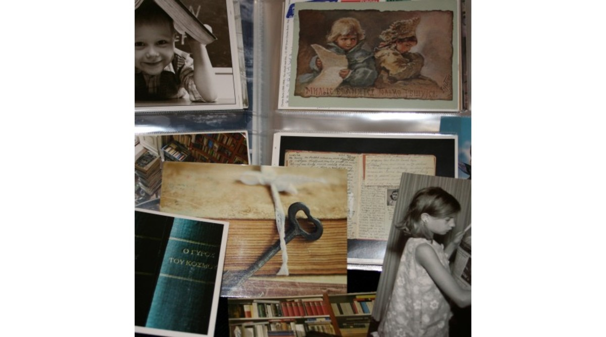 Some postcards connected with books and reading